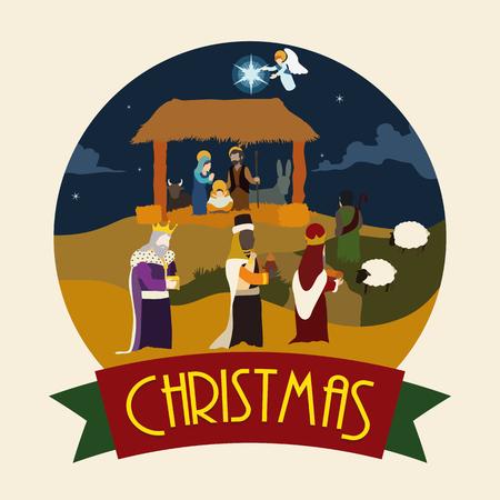 reyes magos: Escena de la natividad con los tres Reyes Magos y pastores que visitan el Ni�o Jes�s en el establo