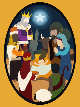 mary and jesus: The Three Wise Men and visiting the baby Jesus shepherd deliver an Their gifts Illustration