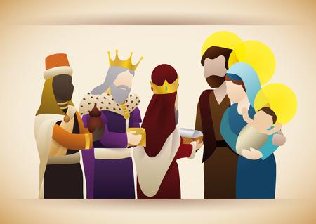 reyes magos: Los Reyes Magos visitar la Sagrada Familia y Sus dar regalos a niño Jesús: oro, incienso y mirra