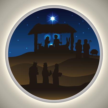 reyes magos: Belleza paisajística de la Santa Familia con los Reyes Magos y los pastores que visitan el niño Jesús en la noche estrellada