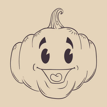 inline: Happy pumpkin retro smile inline with a cute face isolated in a light brown background Illustration