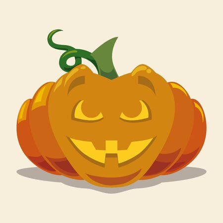 calabaza caricatura: Flat happy Halloween pumpkin isolated on white background Vectores