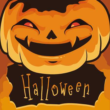 wicked: With wicked poster Halloween pumpkin face in orange background Illustration