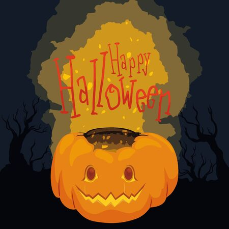 spooky forest: With shining Halloween pumpkin poster on spooky forest background Illustration