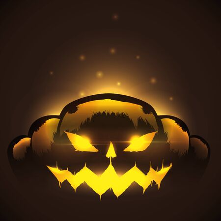 With Terrifying Halloween pumpkin wicked expression on dark background 일러스트