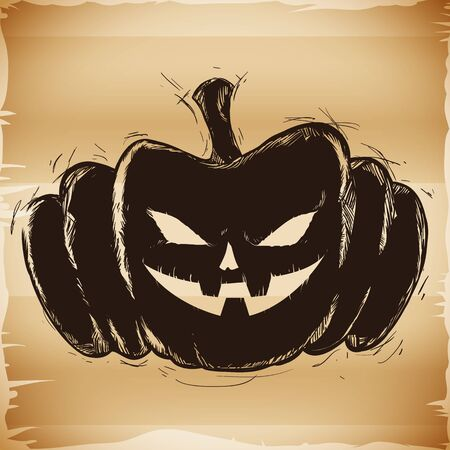 Happy dark and spooky Halloween pumpkin hand drawn on old paper background