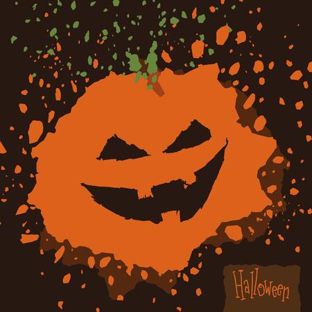 Splatter spooky Halloween pumpkin on brown background