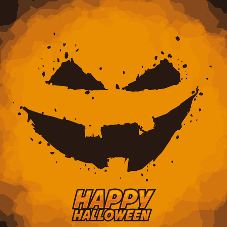 Happy Halloween pumpkin poster With pumpkin wicked expression