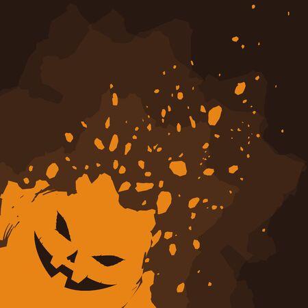 Halloween pumpkin on brown background splatter