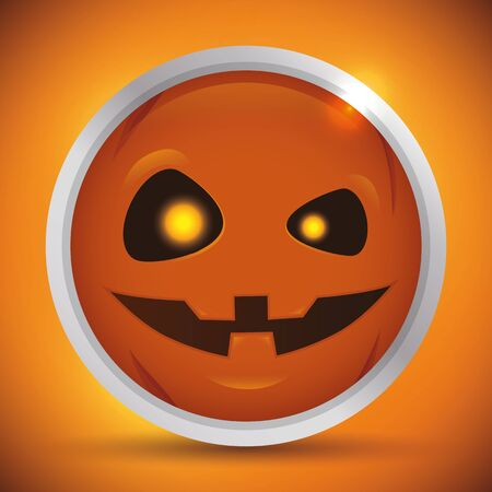 smile close up: Halloween pumpkin icon on round glossy orange background
