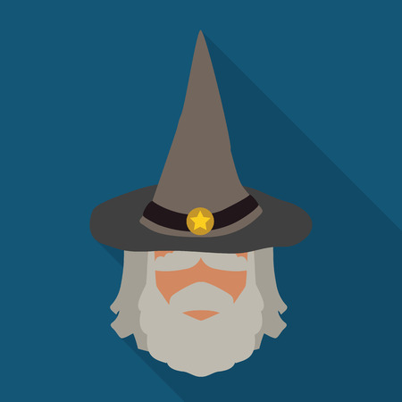 old man: With sage gray pointy wizard hat with long shadow on blue background Illustration