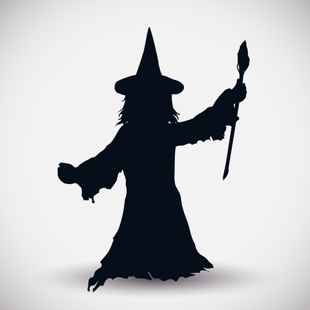 witch: With magic wand Wizard silhouette isolated on white background