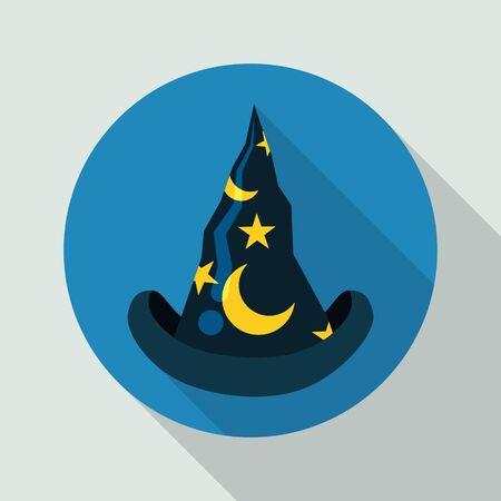 sombrero de mago: sombrero de mago azul puntiagudo clásico con estrellas y lunas con largas sombras