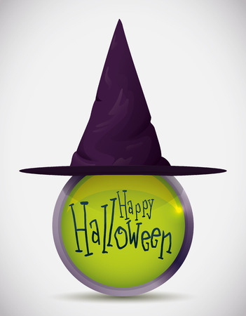 pointy hat: Over metallic purple witch hat with green button sign happy Halloween