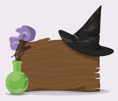 pointy: Black pointy witch hat on wood wall with magic potion Illustration