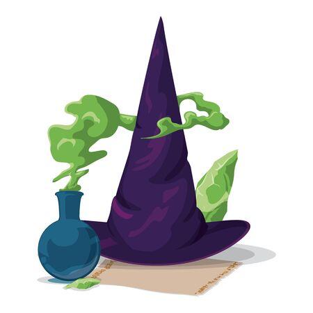 czarownica: Pointy fioletowy kapelusz czarownicy z alchemii magicznego eliksiru, zielone kamieni i przewijania Ilustracja