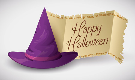 pointy hat: Purple wizard hat with old scroll stamp with beauty typography