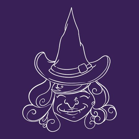 pointy: With pointy witch hat smiling in-line flat in purple background Illustration