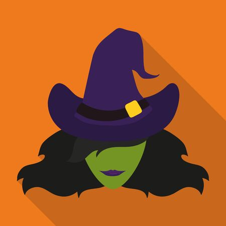sexy witch: Icon sexy witch with long shadow on orange background Illustration
