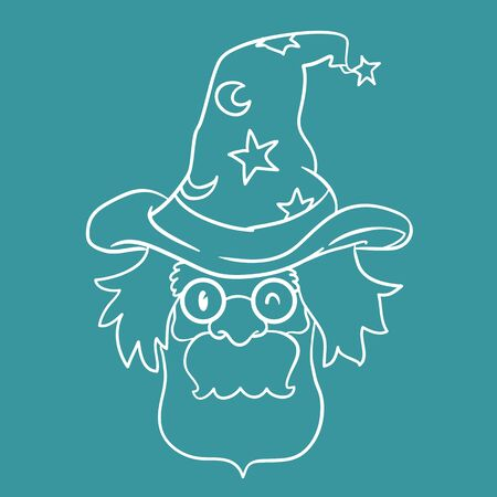 inline: Old wizard magic hat With in-line style flat on blue background