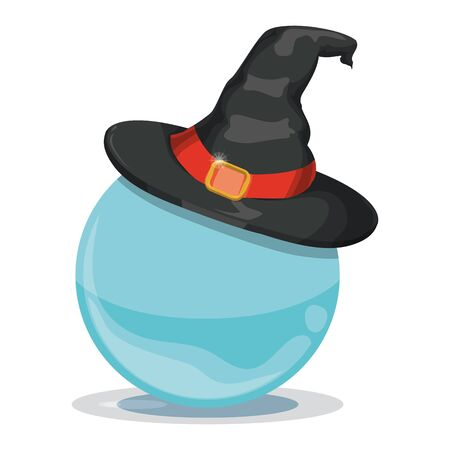 Black witch hat with red ribbon isolated on crystal ball Vetores