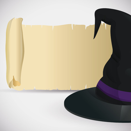 pointy hat: Witch hat with purple ribbon on old scroll Illustration