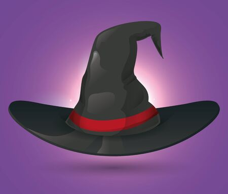 pointy: Pointy witch hat with red ribbon on purple background with glow
