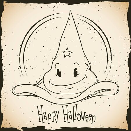 inline: Retro cartoon magic hat Happy Halloween stamp in in-line style