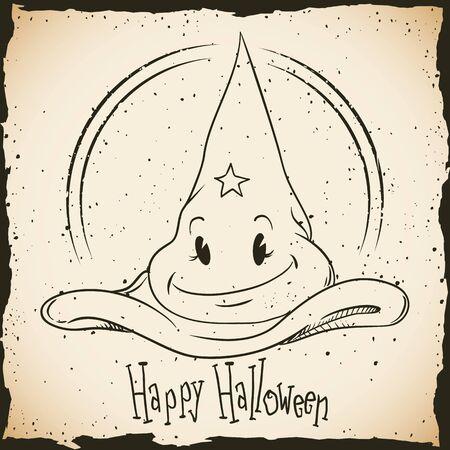 tend: Retro cartoon magic hat Happy Halloween stamp in in-line style