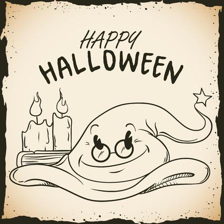 sombrero de mago: sombrero de mago sabio magia con velas en cartel feliz de Halloween