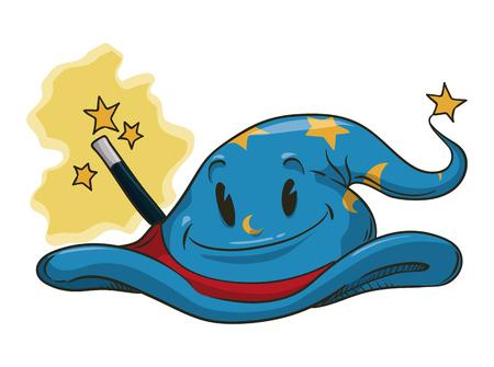 sombrero de mago: Sonriendo sombrero de mago de dibujos animados con la estrella y lunas con la varita m�gica Vectores