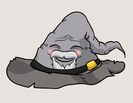 sombrero de mago: anciano gris sombrero de mago sonrisa feliz fondo Vectores