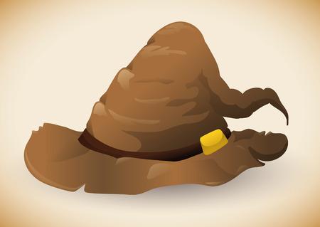 sombrero de mago: aislado marrón sombrero de mago raggy Vectores