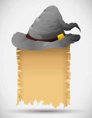 wizard hat: Gray old wizard hat with spell scroll isolated Illustration