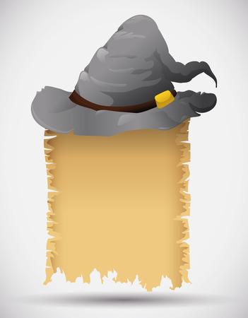 sombrero de mago: Gris sombrero de mago de edad con desplazamiento hechizo aislado Vectores