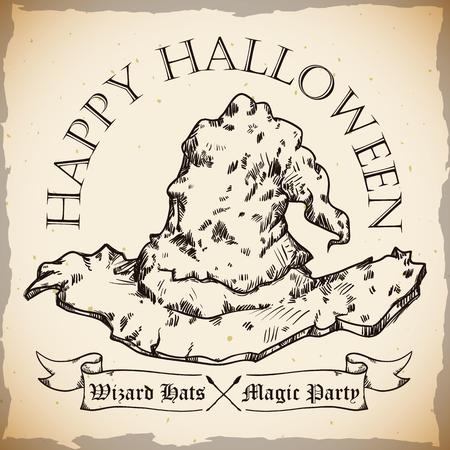 sombrero de mago: Dibujar a mano estilo antiguo sombrero de mago feliz del cartel de Halloween