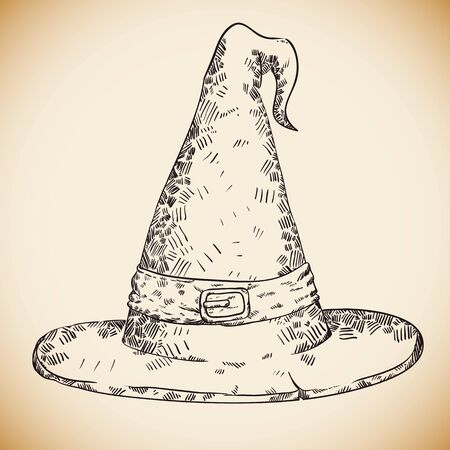 pointy hat: Hand Draw Realistic Witch Hat, Vector Illustration