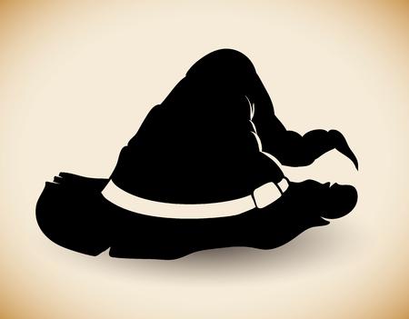 sombrero de mago: Silueta viejo sombrero de mago raggy en el fondo de color beige