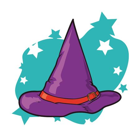 pointy hat: Cartoon witch hat in purple stars background