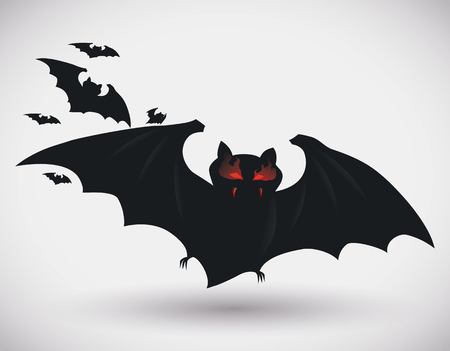 red eyes: Red eyes blazing bat with friends in white background
