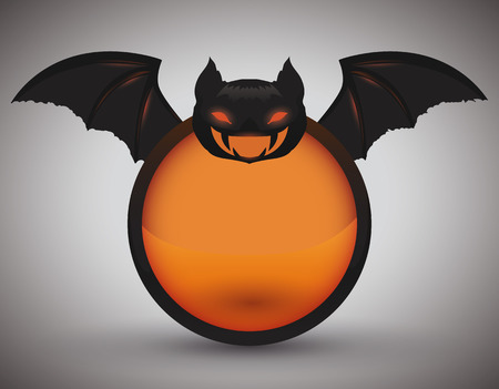 red eyes: Red eyes bat icon with wide open wings in orange button isolated Illustration