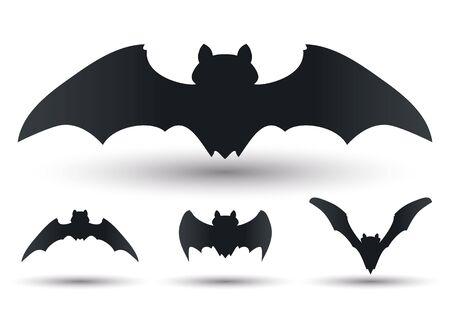 flying bats: Silhouetes Flying bats in different forms and sizes