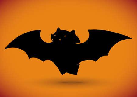 fang: Flying bat silhouette on orange background Illustration