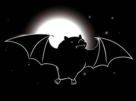 Cute bat flying in a starry night with a full moon shining Illustration