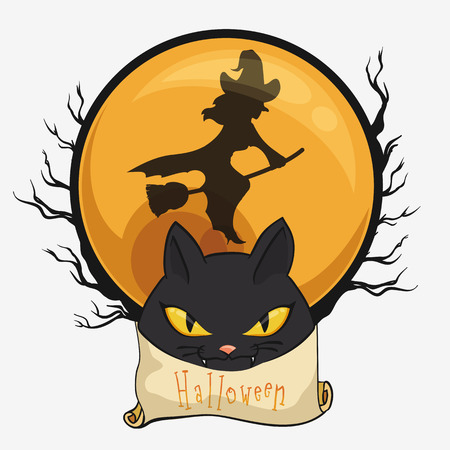 flying witch: Flying witch with cat face on full moon with spooky branches on orange button