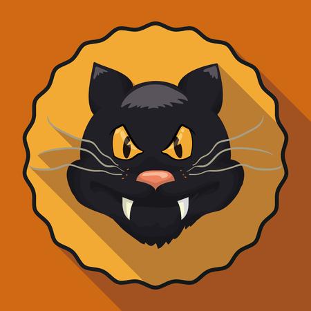 icon illustration: Cartoon style black cat with long shadow effect on orange background Illustration