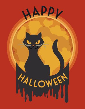 superstitious: Classy mad stylized cat with full moon in red background