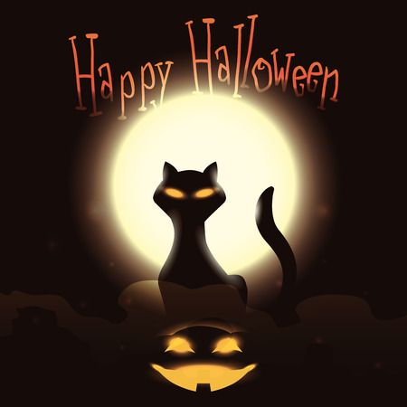 shinning: Mystical cat with glowing pumpkin on full moon shinning background