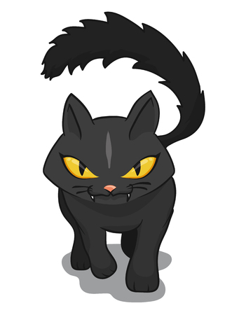 wicked: Wicked cat walking over the viewer isolated on white background Illustration