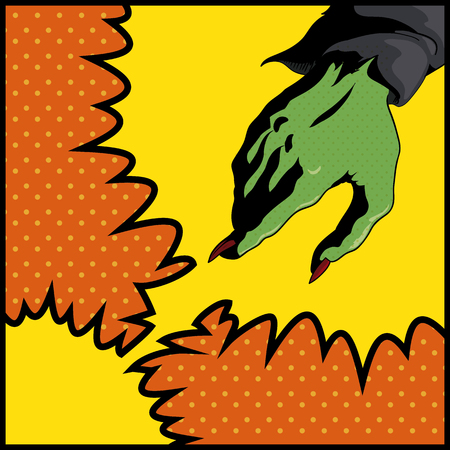 hand grip: Colorful pop art style hand witch casting a spell Illustration